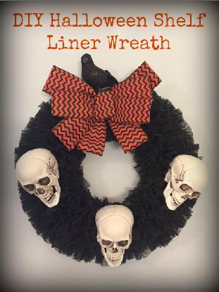 DIY halloween shelf liner wreath