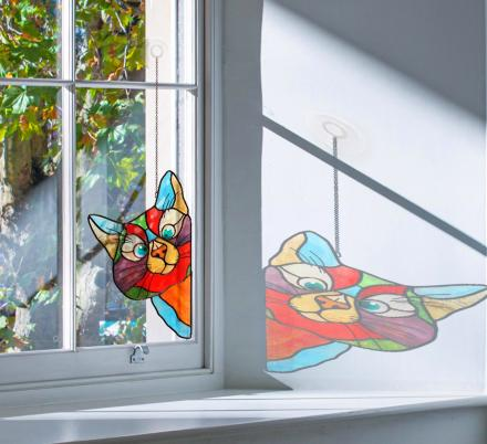 Stained Glass Cat Window Hanger