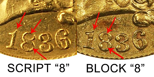 1836 Script 8 vs Block 8 Classic Head $2.50 Gold Quarter Eagle - Difference and Comparison