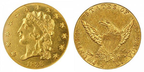 1836 Classic Head $2.50 Gold Quarter Eagle - 2 1/2 Dollars - Script 8